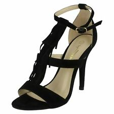 Ladies Anne Michelle Heeled Sandals With Ankle Buckle F10471 Black UK 6 Standard