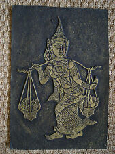 Vintage Asian Embossed Print - Traditional Thailand Costume / Market Trader