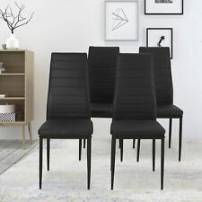 4 Pcs Set Dining Room Chairs Kitchen High Back Chairs Pu Leather Furniture Black