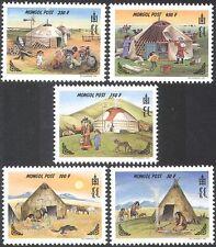 Mongolia 1999 Gers/Native Tents/Motorbike/Dogs/Transport/Radio 5v set (n17552)