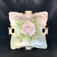 Vintage Porcelain Hand Painted Rose Gold Trim Dish Bowl Signed O Edwards