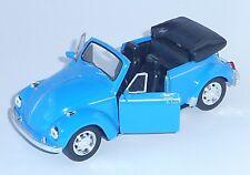 VW Käfer Cabrio Modellauto 1:34 blau Spritzguss 12cm Rückzugmotor WELLY Neuware