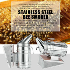 "11"" Bee Hive Smoker Stainless Steel W/ Heat Shield Calming Beekeeping Galvanized"