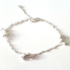 Echt Silber 925 Mädchen Frauen Motiv Armband 3 Delfine Singapur Kette 16 18,5 cm