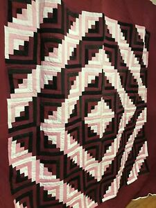 NEW Amish Handmade Quilt Log Cabin King Size Pink Maroon Deep Red Black 108 x108