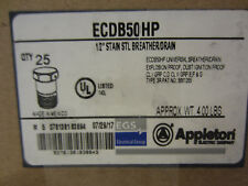 "LOT OF 25  APPLETON ECDB50HP  BREATHER OR DRAIN 1/2"" STAINLESS STEEL NEW"