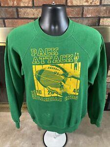Vintage Raglan Green Bay Packers NFL Football Crewneck Sweatshirt Mens Large