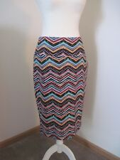 Womens LuLaRoe Multicolor Cassie Straight Skirt Size Large Electric Chevron NWT