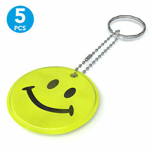 5x Reflector Pendant For Cartable Backpack Jacket Children Protector Smiley Gelb