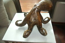 Stunning aged solid hollow heavy brass OCTOPUS statue ornament 33 cm wide B