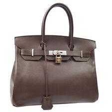 HERMES BIRKIN 30 Hand Bag Chocolat Veau Epsom France Vintage Authentic AK36859g