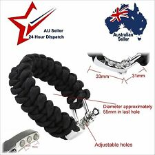 Stainless D Shackle Buckle Paracord Bracelet Band - Hiking Survival Cord Outdoor