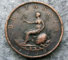 GREAT BRITAIN GEORGE III 1799 HALFPENNY HALF 1/2 PENNY, COPPER