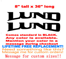 "PAIR OF 8"" X 36"" LUND BOAT HULL DECALS MARINE GRADE. YOUR COLOR CHOICE. 130"