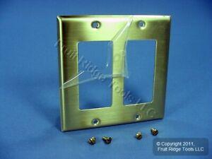 Leviton 2G Brushed Satin Brass Decora Wallplate Cover GFCI Satin Finish 81409