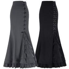 gothique femme vintage Steampunk Corset Long Sirène Robe à volants queue jupe