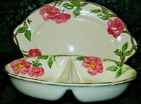 FRANCISCAN ENGLAND & USA DESERT ROSE PLATTER & DIVIDED BOWL/ DISH GREAT