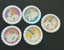 5 x Unicorn Flattened Bottle Caps - Great for Jewellery, Bows, Cards