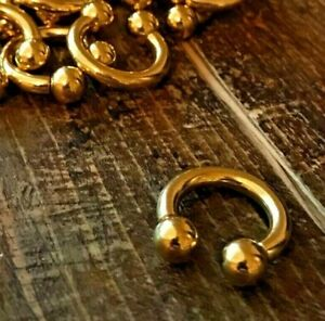CIRCULAR BARBELL - Gold PVD | Septum Nose Ear Nipple | UK Body Jewellery