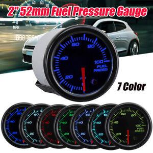 """Fuel Pressure Gauge 2"""" 52mm Press Meter Black Face 0-100 PSI w 7 LED Colors 12V"""