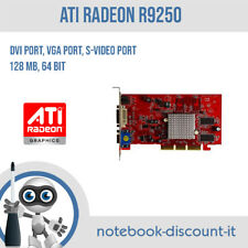 Scheda video AGP funzionante Radeon R9250 128mb 64bit  VGA, DVI, S-Video Port