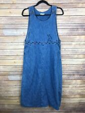 Christopher Banks Womens Dress 100% Cotton Denim Overall Embroidered Dogs Size S