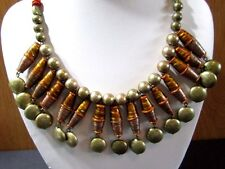 ART GLASS DANGLES AND BRASS TRIBAL CHICO'S NEKCLACE OLDER VINTAGE SIGNED