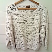 Pol Womens Chenile Knit Crochet Boutique Boho Lace Sweater Beige Size Small