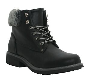 Womens Ladies Warm Fur Lining Comfort Casual Walking Lace up ankle Winter Boots