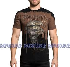 3be12008bf0 Men Affliction T-shirts Eagle Rock Graphic Brown Size L
