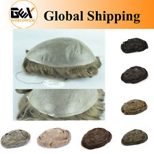 GEX Toupee Mens Hairpiece Thin Skin Human Hair Toupee Replacement System