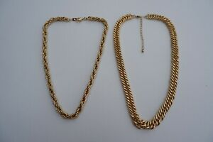 2 YELLOW GOLD TONE HEAVY CHAINS OR NECKLACES, 1 GOLD PLATED - C2000'S