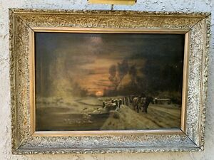 Antique Continental Oil On Canvas of a Winter Scene