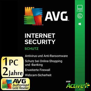 AVG INTERNET SECURITY 1 PC 2 Jahre 2021 Vollversion DE Antivirus NEU 2022