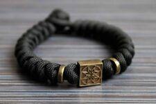 Slavic pagan paracord bracelet Alatyr, handmade bronze, black, pagan amulet