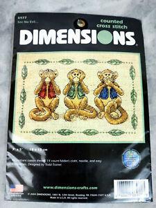 Dimensions See No Evil 6977 Cross-Stitch Kit New