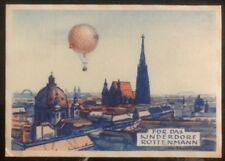 1957 Vienna Austria Balloon Flight Postcard Cover Pfadfinder Labels