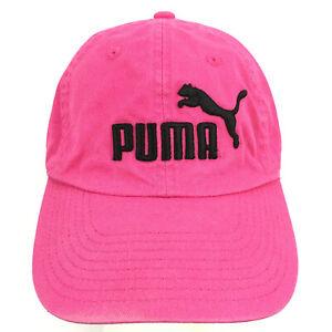 Puma Cap Cat Logo Pink Spell Out Script Running Yoga Gym Workout Baseball Hat