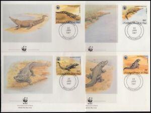 CONGO 1987 WWF CROCODILES SET FDC's (x4) (ID:563/D17877)
