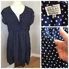 The Masai Clothing Company Tunic Dress Size M Navy Dotty Polka Dot Pockets