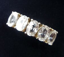 10ct Gold White Topaz Five Stone Ring, Size M