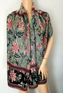 Long Wide Warm Floral Rectangle Scarf Shawl Wrap Black Pink Green Red Cream