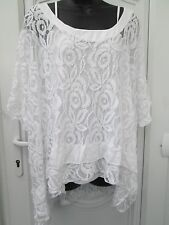 New Italian lagenlook Ladies Lace Lacy White layering  Batwing Top 16 18 20 22