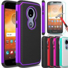 For Motorola Moto E5 Play/Cruise Hybrid Rubber Case Cover/Glass Screen Protector