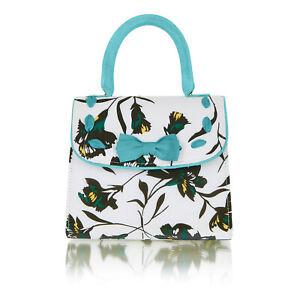 Ruby Shoo Aqua Santiago Fabric Top Handle Bag (Matches Willow Heels Iris Flats)