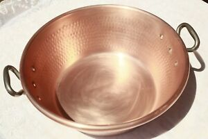 """Vintage French Copper Jam Pan Hammered Rolled Rim Cast Iron Handles 7.5lbs 15.9"""""""
