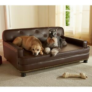 Large Dog Bed Foam Library Sofa Couch Pet Furniture Tufted Faux Leather Big Brow