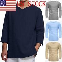 US Men's Summer T-Shirt Cotton Linen Hippie Shirt V-Neck Beach Yoga Top Blouse
