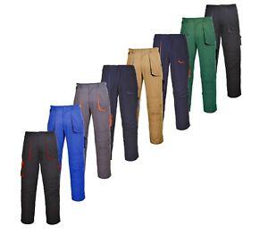 Mens Contrast Work Wear Trousers Elastic Waist Multi Pockets Knee Pad Pockets BN