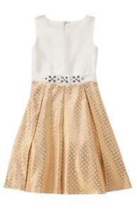 Gymboree NWT Savanna Party Gold Ivory Jacquard Holiday Christmas Dress 4 5 6 7